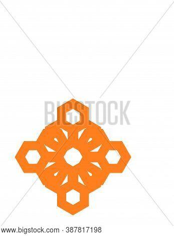 Honey Bee Circle Orange Flower Shape Logo And Vector Icon