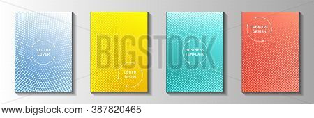 Modern Point Screen Tone Gradation Front Page Templates Vector Series. Urban Poster Faded Screen Ton