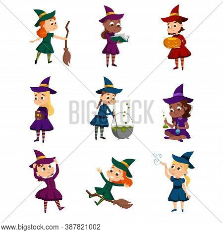 Little Witches Set, Cute Girls Wearing Dress And Hat Practicing Witchcraft Cartoon Style Vector Illu