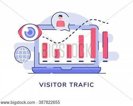 Visitor Traffic Concept Statistic Bar Chart On Display Laptop Screen White Isolated Background With