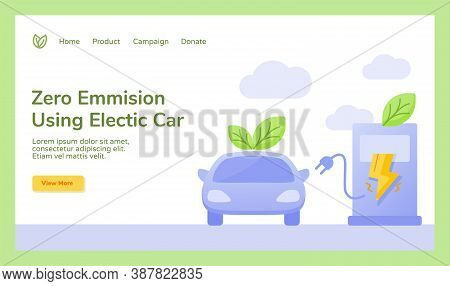 Zero Emission Using Electric Car Leaf Plug Charge Electricity Campaign For Web Website Home Homepage