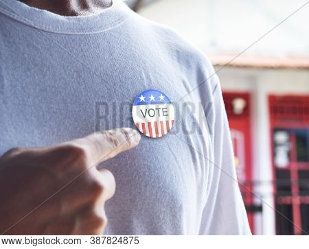 Presidential Election 2020 American Votes Concept. Voting Badge Pined On T-shirt, Close Up