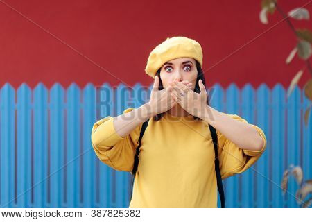 Woman Trying To Hide Hiccup With Polite Hand Gesture