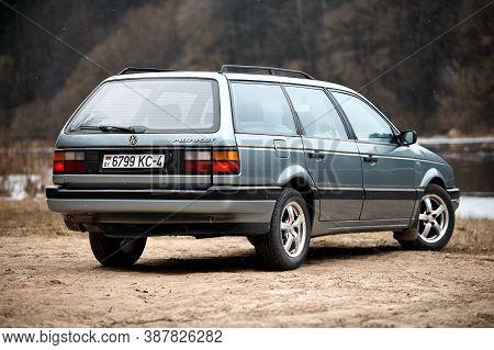 Grodno, Belarus - January 2018: Volkswagen Passat B3 Gt 1.8 Grey Metallic Universal Selective Focus