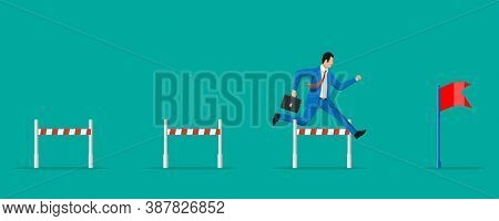 Businessman With Briefcase Runs On Obstacle Course. Business Man Jumping Over The Barrier. Financial