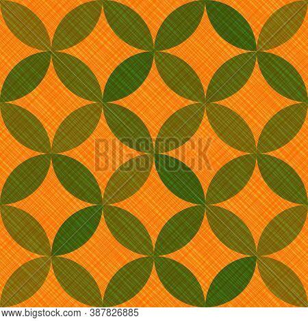 Interlacing Circles Parts Decorative Seamless Vector Pattern. Guatrefoil Flower Orange Medieval Endl
