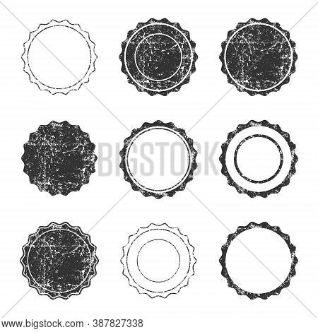 Seal Vector Set. Stamp Label With Grunge Texture. Vintage Style Tag Logo. Rubber Ink Label Sign Coll