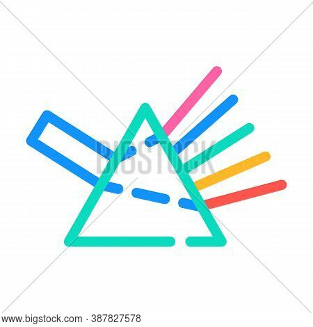 Refraction Of Light Rays Prism Color Icon Vector Illustration