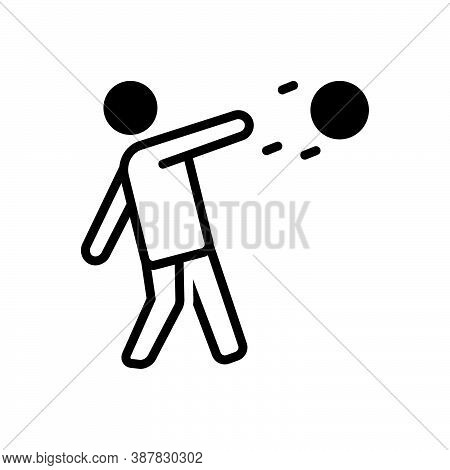 Black Solid Icon For Throw Player Action Jump Leisure Shot-put Discus-throw Sport Game Championship