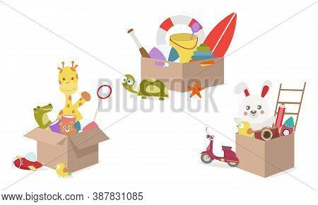 Toy Box, Full Of Children´s Toys Including Giraffe Doll, Crocodile Doll, Ball, Rabbit, Bear, Book, P
