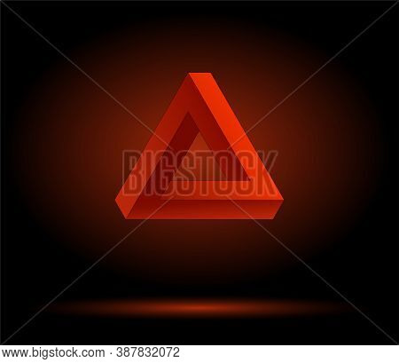 Red Penrose Triangle On A Black Background, Impossible Figure. Graphic Illusion.
