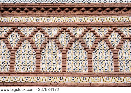 Synthetic Style In Mudejar Architecture. Patterns On The Facade. Ornament