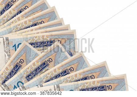 10 Tunisian Dinars Bills Lies Isolated On White Background With Copy Space Stacked In Fan Close Up