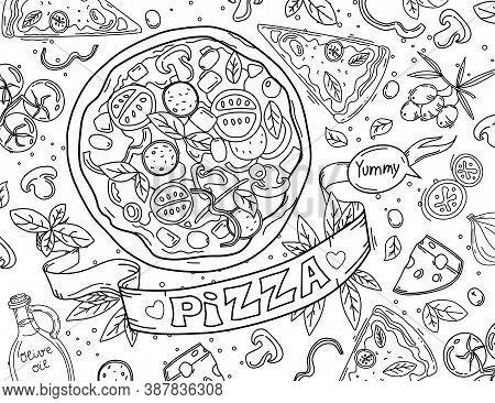 Coloring Book, Outline, Salami, Texture, Logo, Brunch, Delicious, Isolated, Parmesan, Element, Banne