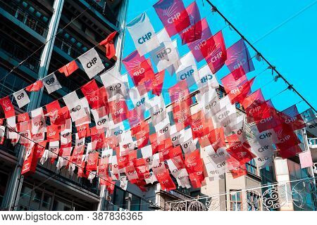 19.12.2019, Istanbul, Tyrkey. Garlands Of Red And White Flags Of The Turkish Republican Peoples Part