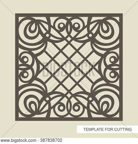 Square Frame With A Beautiful Openwork Pattern And A Lattice In The Center. Template For Laser Cutti