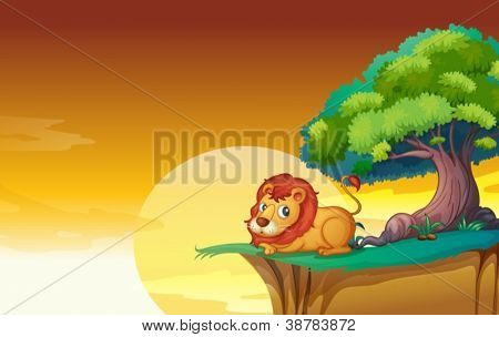 illustration of lion in a beautiful nature