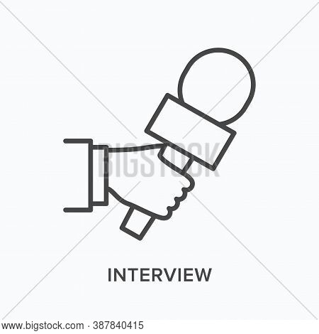 Hand Holding Microphone Flat Line Icon. Vector Outline Illustration Of Journalist Taking Interview.