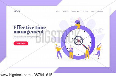 Effective Work Time Management Business Concept Flat Style Design Vector Illustration. Tiny People W