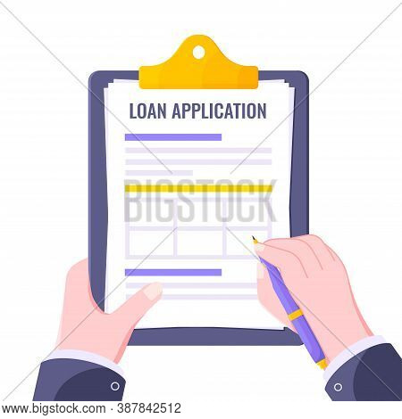 Submit Loan Application Document Form Flat Style Design Icon Sign Vector Illustration Isolated On Wh