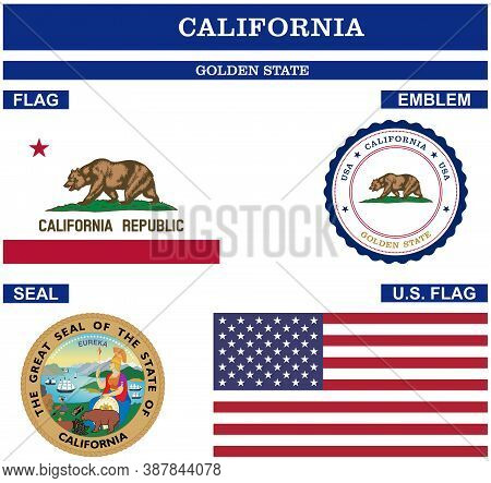 California Symbol Collection With Flag, Seal, Us Flag And Emblem As Vector.