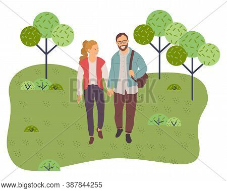 Couple Walking In A Park. Young Guy And Girl Holding Hands Walking In Summer Garden, Weekend Walk. L