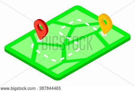 Map With Waypoints, Delivery Service Concept, Vehicle Route Illustration With Marked Places For Unlo