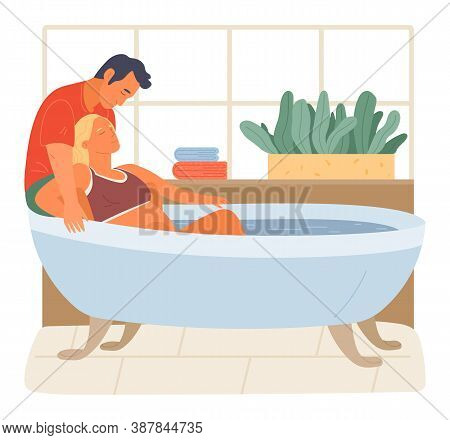 Pregnancy Preparing, Wife And Husband Joint Birth. Pregnant Woman Giving Natural Birth In A Bathtube