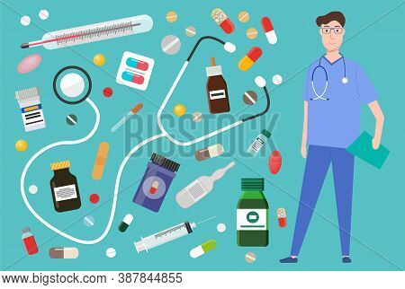 Medicament Pharmacy, Hospital Set Of Medicines In Various Forms. Medicament Pharmaceutic Concept. Do