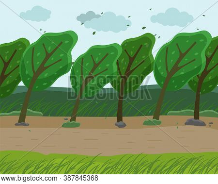 Strong Wind And Heavy Fall Of The Leaves In The Forest. Autumn Wind Blowing In The Park. Green Trees