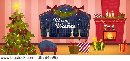 Christmas Room Interior With Living Room, Fireplace, X-mas Tree, Sleeping Cat, Box With Gifts. Winte