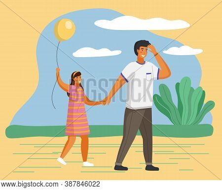 Family Walking Together Outdoors, Young Father With Little Daughter Holding Balloon Walk At Summer A
