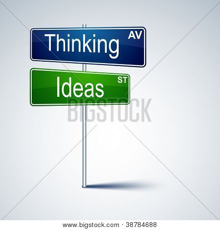 Vector direction road sign with thinking ideas words.