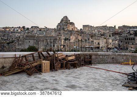 Matera, Italy - September 17, 2019: Bond 25, Scenography Elements Used For Explosion And Fire Scenes