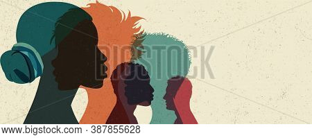 Banner Diversity Multi-ethnic And Multiracial People Poster. Silhouette Profile Group Of Men And Wom