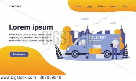 Shipping, Transportation, Delivery, Cargo Concept. Positive Courier Or Postman Standing Near His Tru