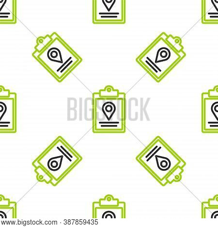 Line Document Tracking Marker System Icon Isolated Seamless Pattern On White Background. Parcel Trac