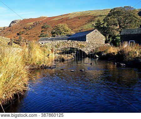 Stone Bridge Over Stream, Watendlath, Lake District, Cumbria, England, Uk, Western Europe.