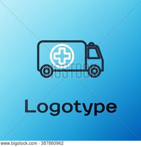 Line Ambulance And Emergency Car Icon Isolated On Blue Background. Ambulance Vehicle Medical Evacuat