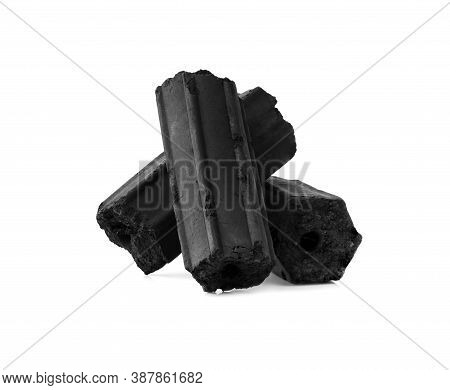 Charcoal,bamboo Charcoal Powder Has Medicinal Properties With Traditional Charcoal Isolated On White