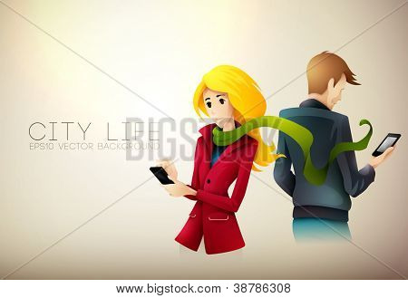 Young couple messaging on phone | City Life Series | Vector EPS10 with organized layers