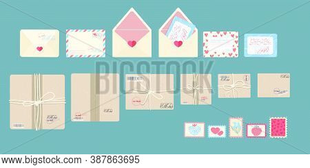Parcels, Envelope And Postage Stamps, Postal Service Icons Pack Collection. Top View, Vector Illustr