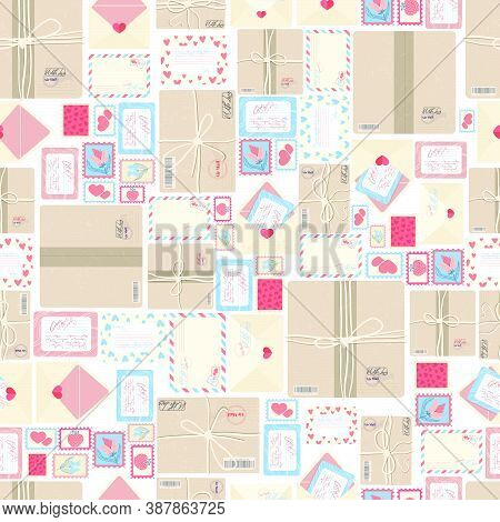 Parcels, Envelope And Postage Stamps, Postal Service Packs And Letters Vector Seamless Pattern . Fla