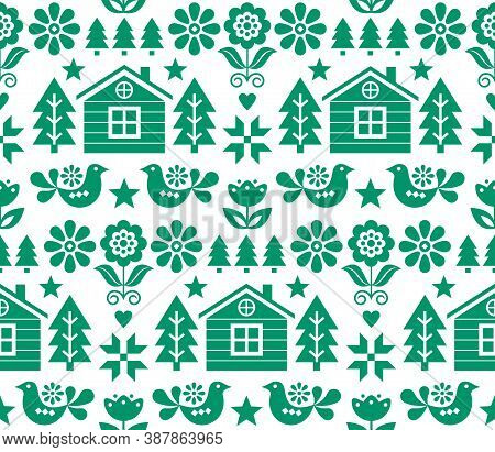 Christmas Scandinavian Folk Art Vector Seamless Pattern In Green On White With Christmas Trees, Bird
