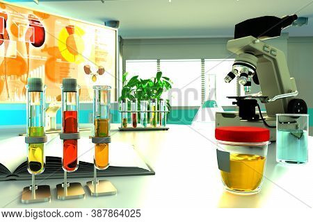 Urine Sample Test For Hemoglobin And Myoglobin Or Crystalline Uric Acid - Laboratory Test Tubes In P