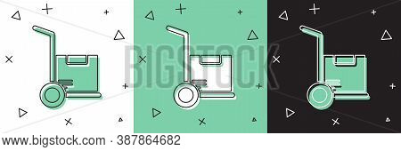 Set Hand Truck And Boxes Icon Isolated On White And Green, Black Background. Dolly Symbol. Vector Il