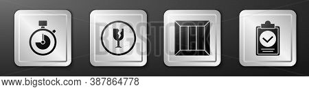 Set Stopwatch, Fragile Broken Glass, Wooden Box And Verification Of Delivery List Clipboard Icon. Si