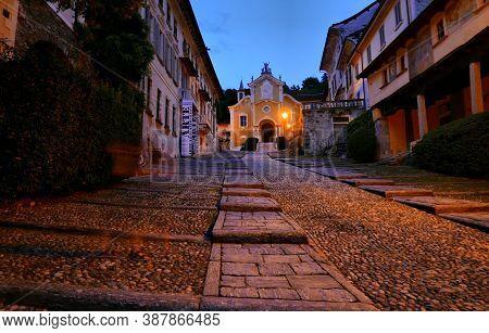 Church Of Santa Maria Assunta At Night, Orta, Piedmont, Italy