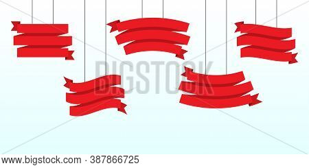 Hanging Title Ribbon In Red. Curled Promotion Ribbon On A Rope. Set Of Red Blank Banners For Adverti