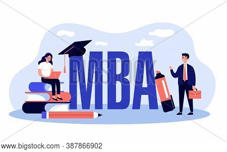 Mba School Students. Person Using Laptop On Stack Of Books Near Graduation Cap, Studying Business Ad